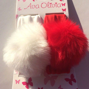 Other - Set of 2 Baby Girl Faux Fur Pom Pom Headwraps